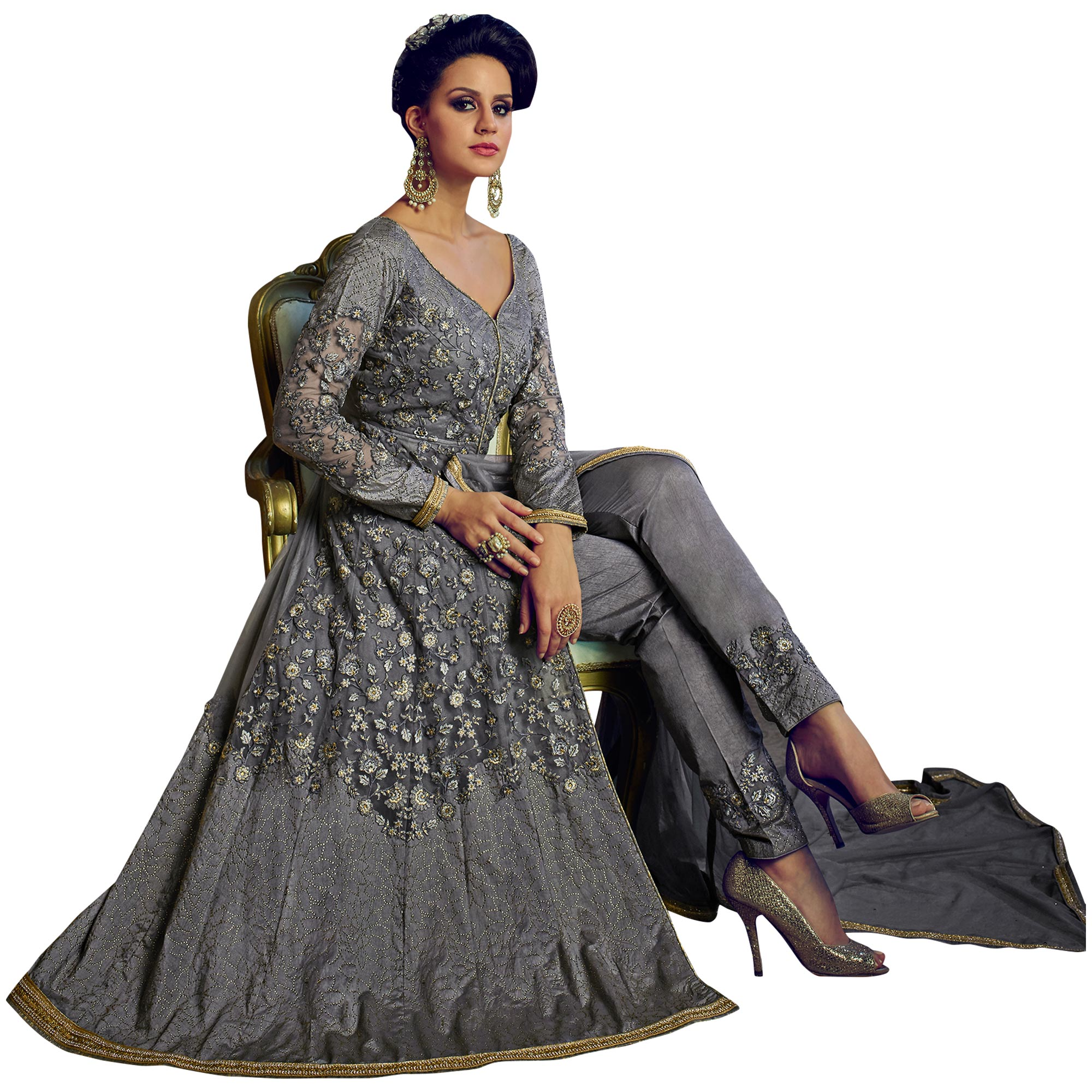 Adorning Grey Colored Party Wear Embroidered Lehenga Kameez
