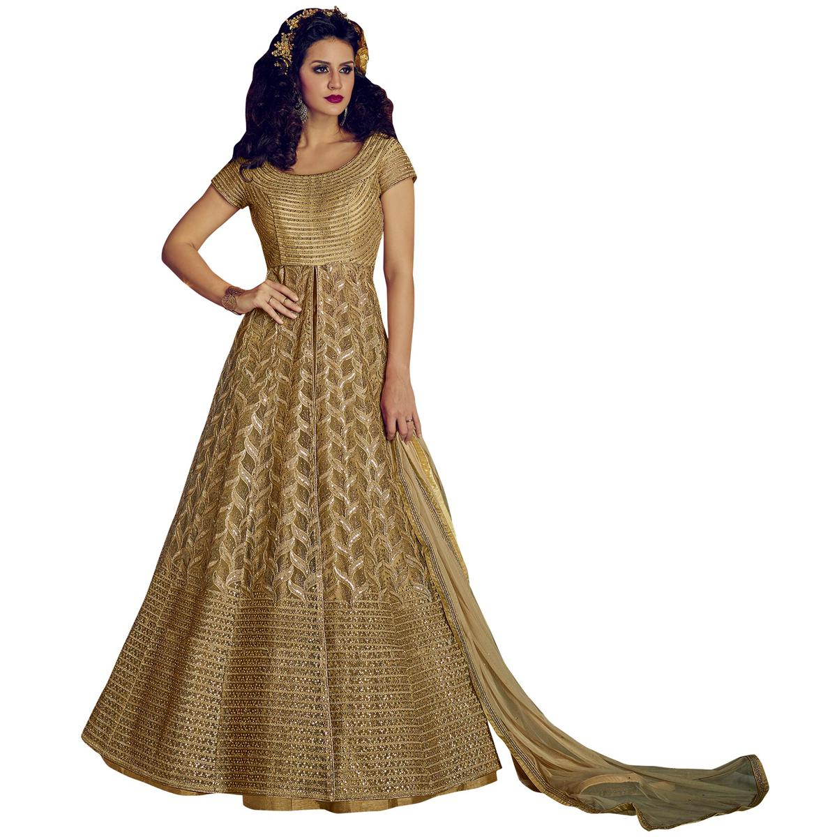 Classic Beige Colored Party Wear Embroidered Lehenga Kameez