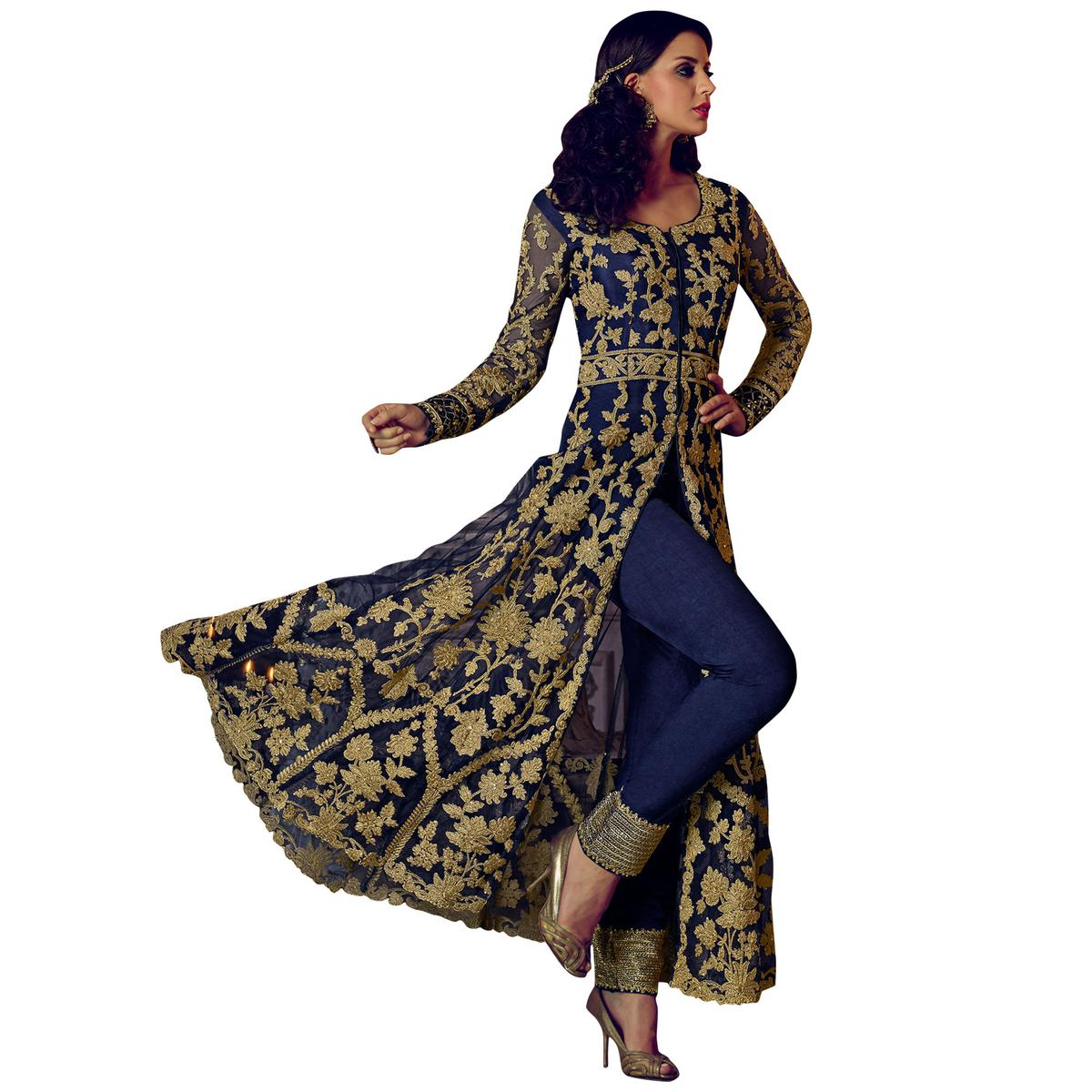 Blooming Navy Blue Colored Party Wear Embroidered Lehenga Kameez