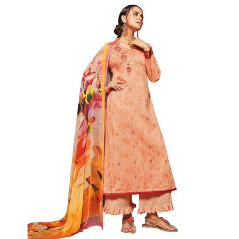 Pretty Peach Colored Embroidered Jacquard Art Silk Suit