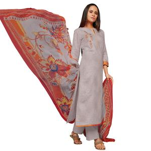 Trendy Gray Colored Embroidered Jacquard Art Silk Suit