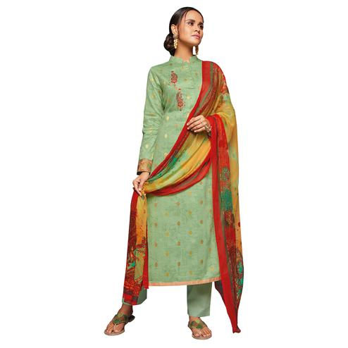 Gorgeous Pastel Green Colored Embroidered Jacquard Art Silk Suit