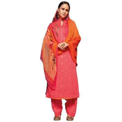 Demanding Peach Colored Embroidered Jacquard Art Silk Suit
