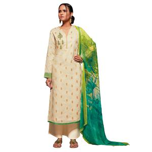 Pleasant Off-White Colored Embroidered Jacquard Art Silk Suit