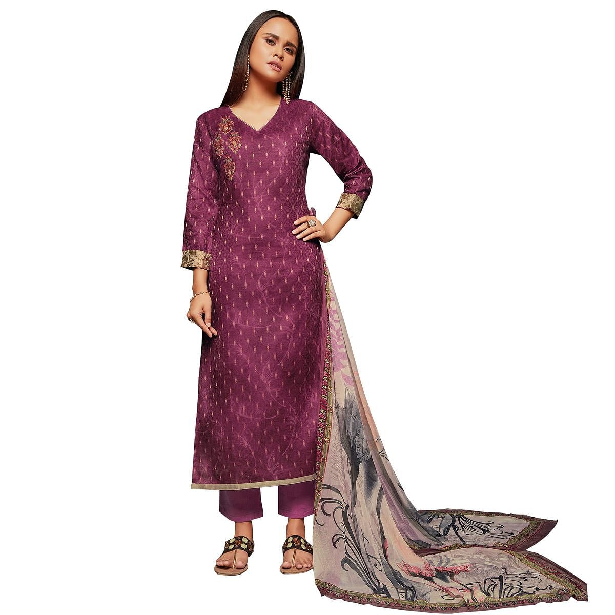 Groovy Magenta Colored Embroidered Jacquard Art Silk Suit