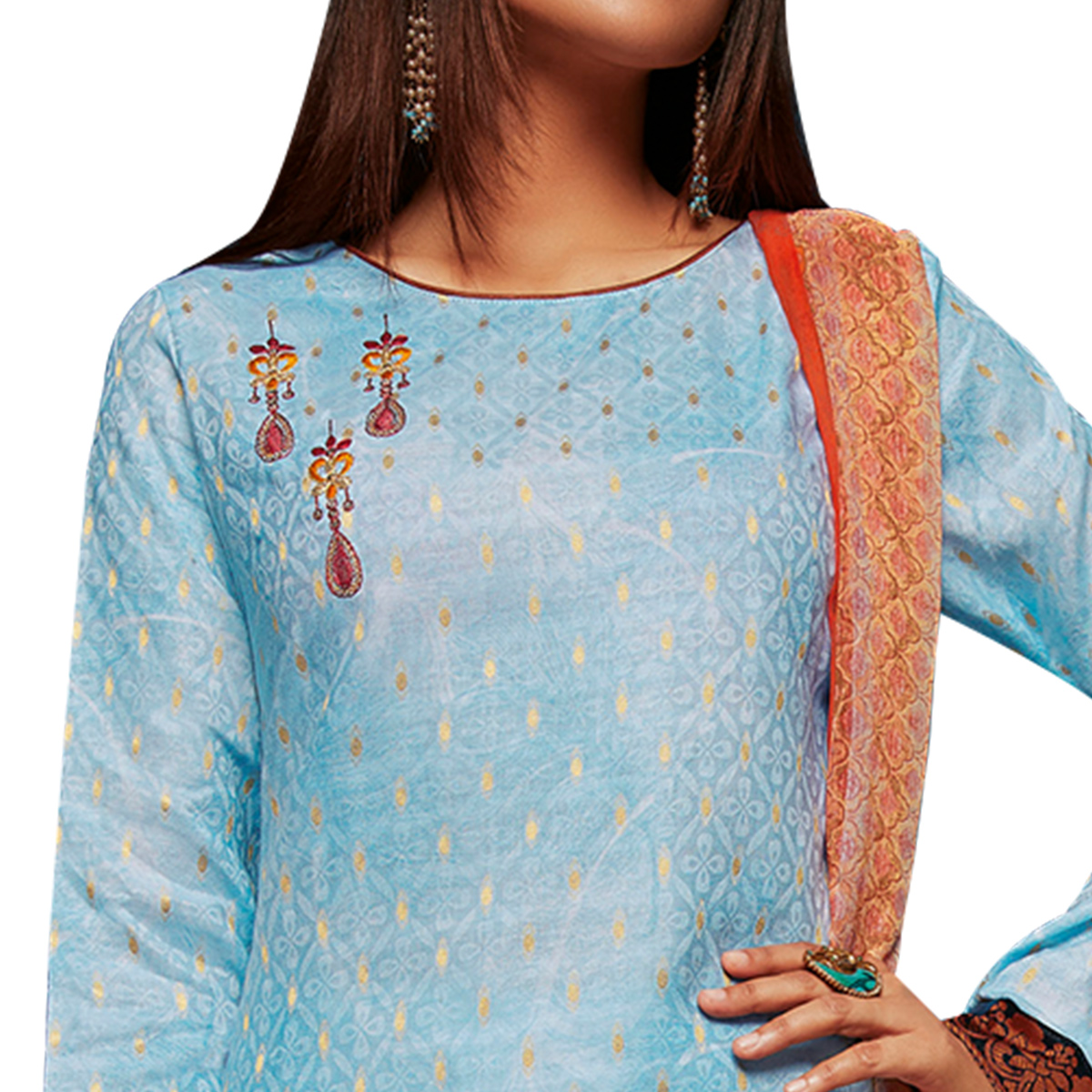 Glowing Sky Blue Colored Embroidered Jacquard Art Silk Suit