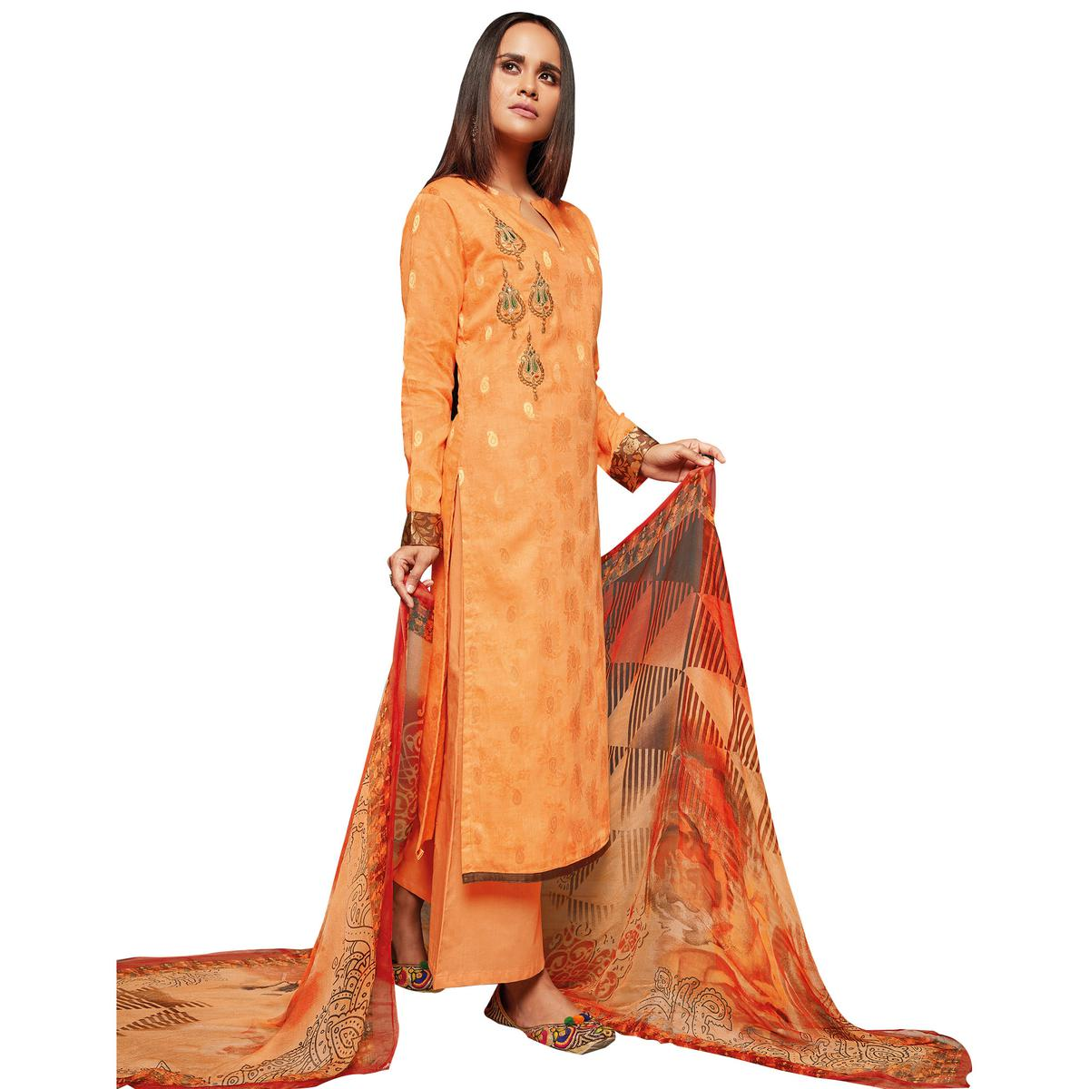 Blooming Orange Colored Embroidered Jacquard Art Silk Suit