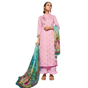Lovely Lavender Colored Embroidered Jacquard Art Silk Suit