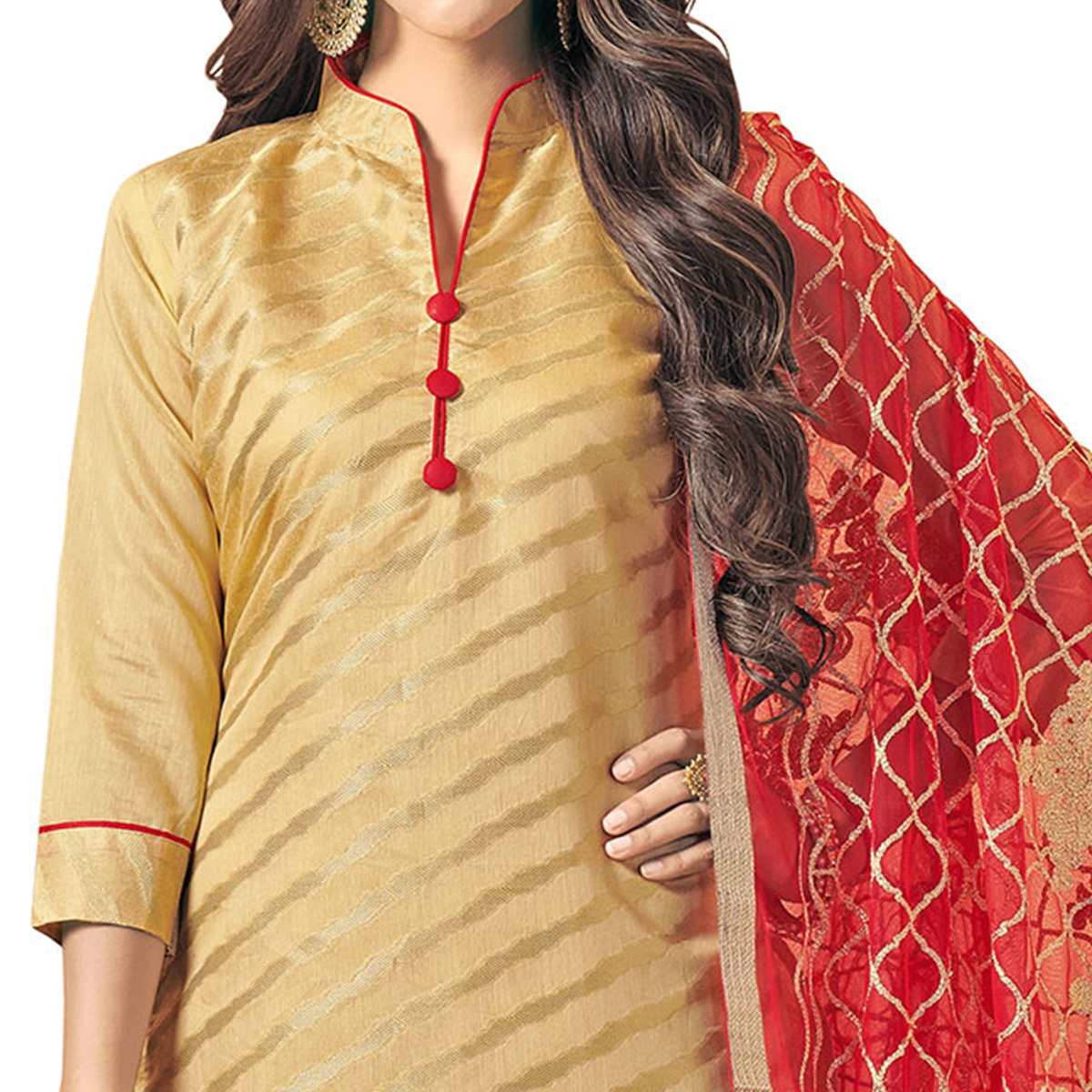 Pleasant Beige Colored Embroidered Jacquard Silk Dress Material