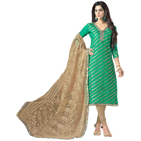 Refreshing Green Colored Embroidered Jacquard Silk Dress Material