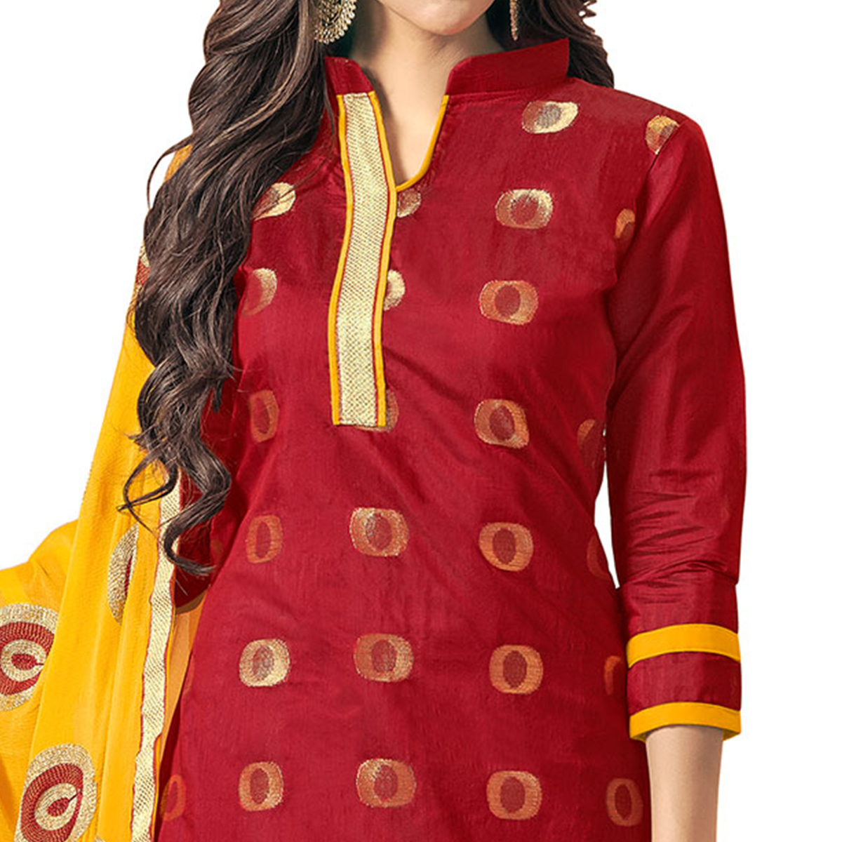 Traditional Maroon Colored Embroidered Jacquard Silk Dress Material