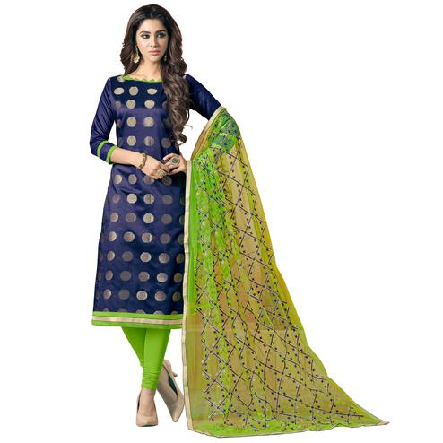 Desiring Navy Blue Colored Embroidered Jacquard Silk Dress Material