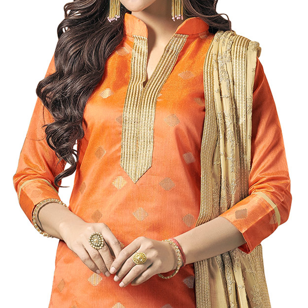 Blooming Orange Colored Embroidered Jacquard Silk Dress Material