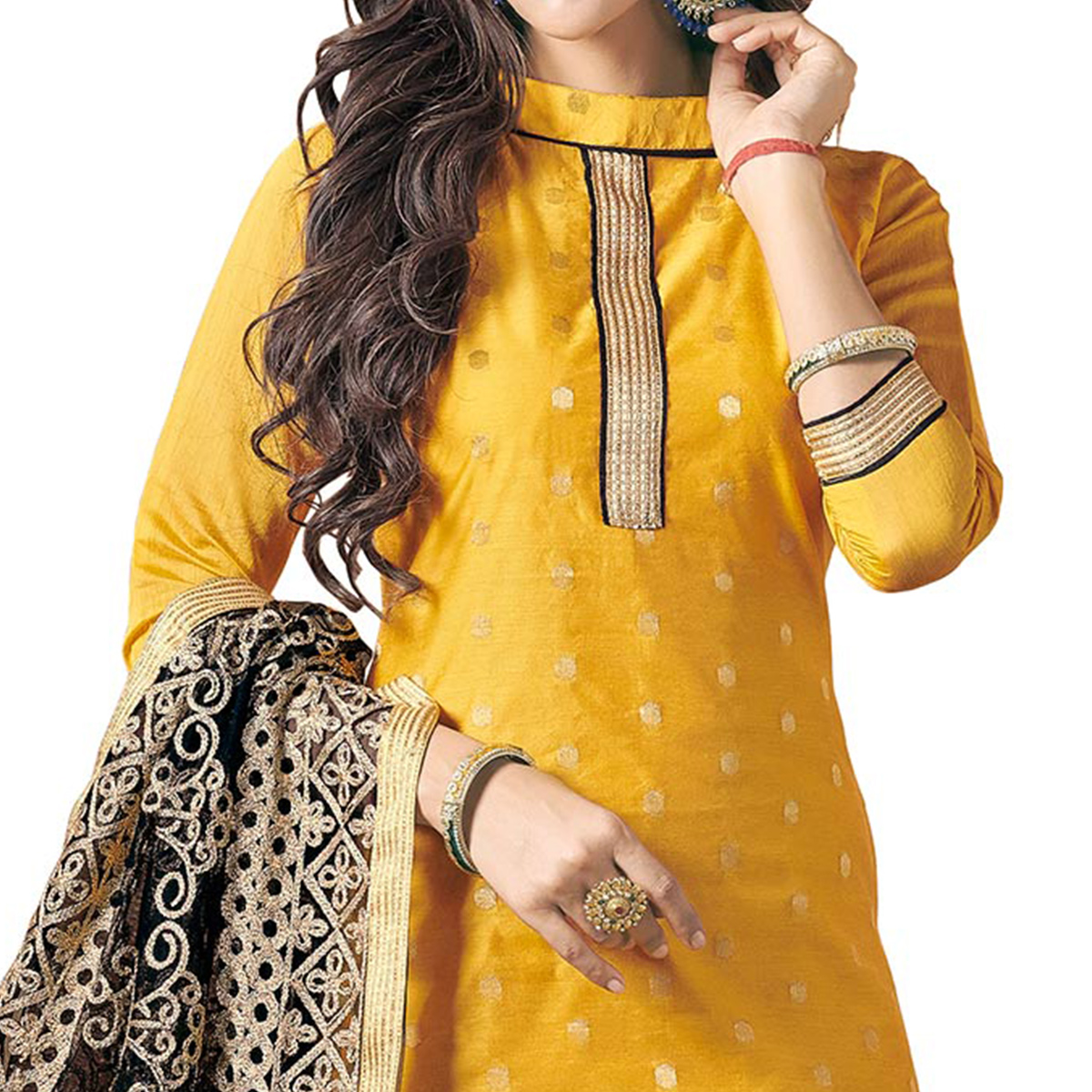 Majestic Yellow Colored Embroidered Jacquard Silk Dress Material