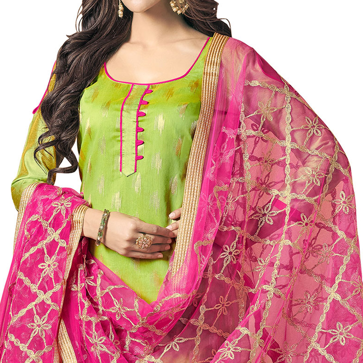 Opulent Green Colored Embroidered Jacquard Silk Dress Material