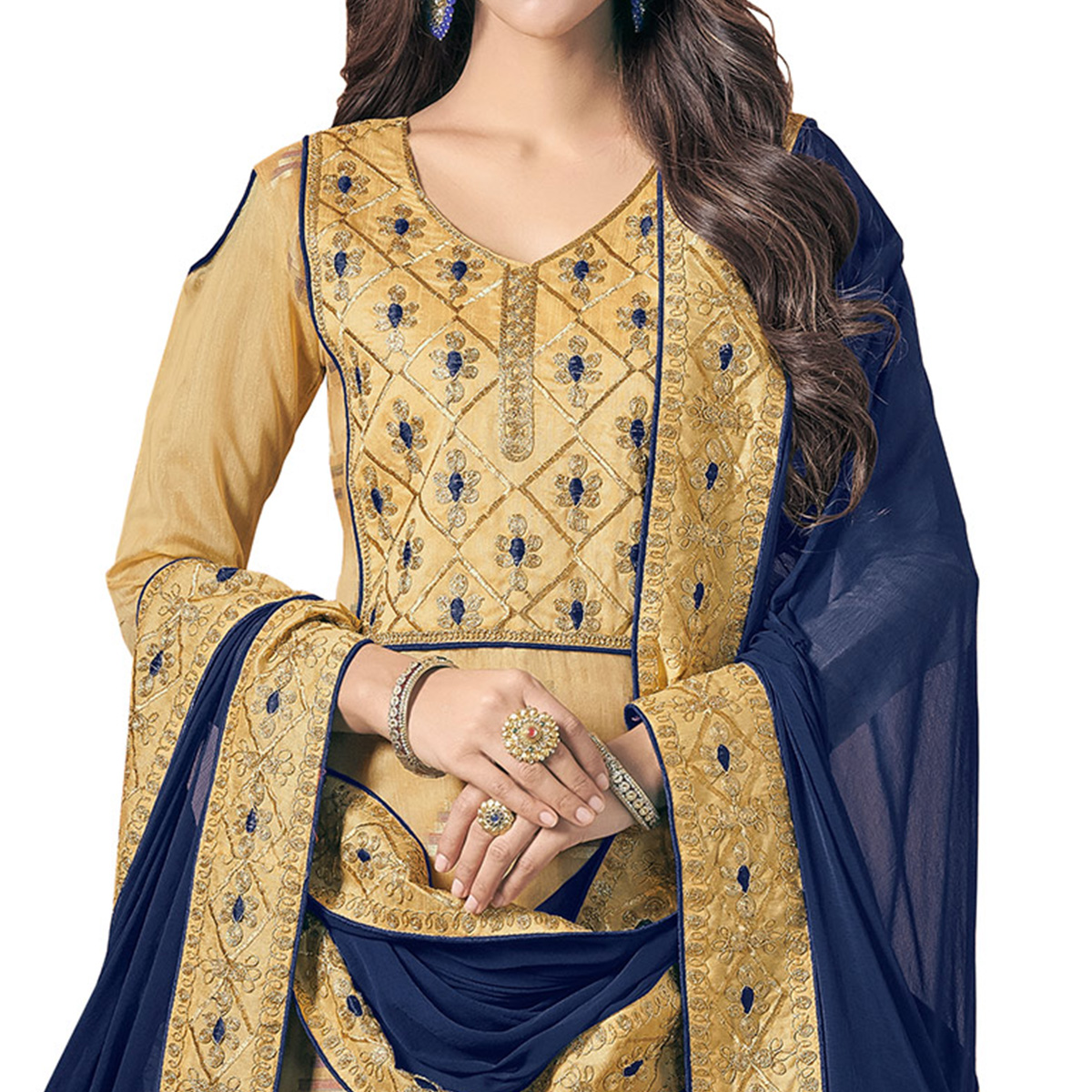Classy Beige Colored Embroidered Jacquard Silk Dress Material
