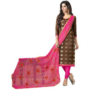 Lovely Brown Colored Embroidered Jacquard Silk Dress Material