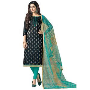 Exceptional Navy Blue Colored Embroidered Jacquard Silk Dress Material
