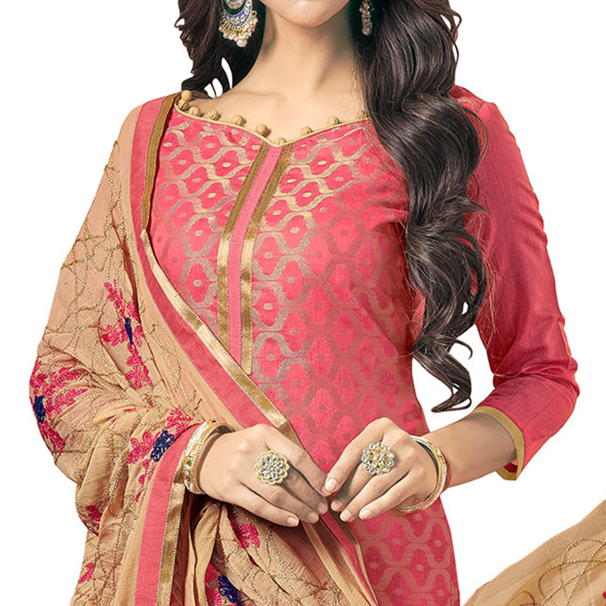 Charming Pink Colored Embroidered Jacquard Silk Dress Material
