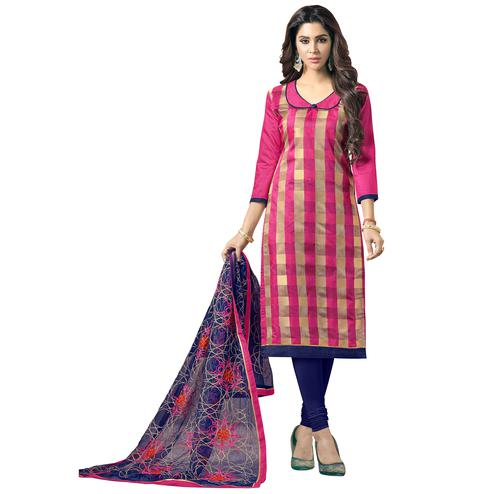 Pretty Dark Pink Colored Embroidered Jacquard Silk Dress Material