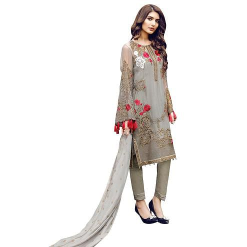 Stylish Gray Colored Partywear Embroidered Georgette Suit