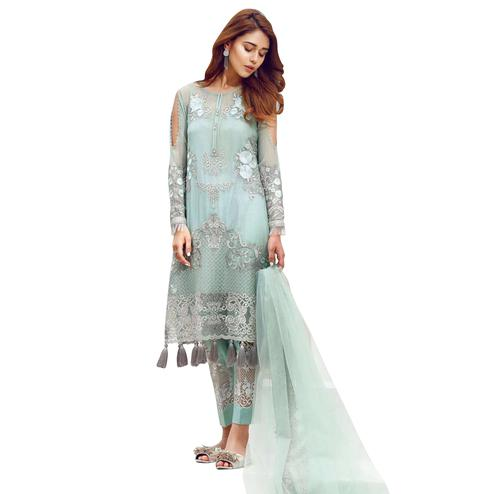 Pleasant Light Aqua Blue Colored Partywear Embroidered Georgette Suit