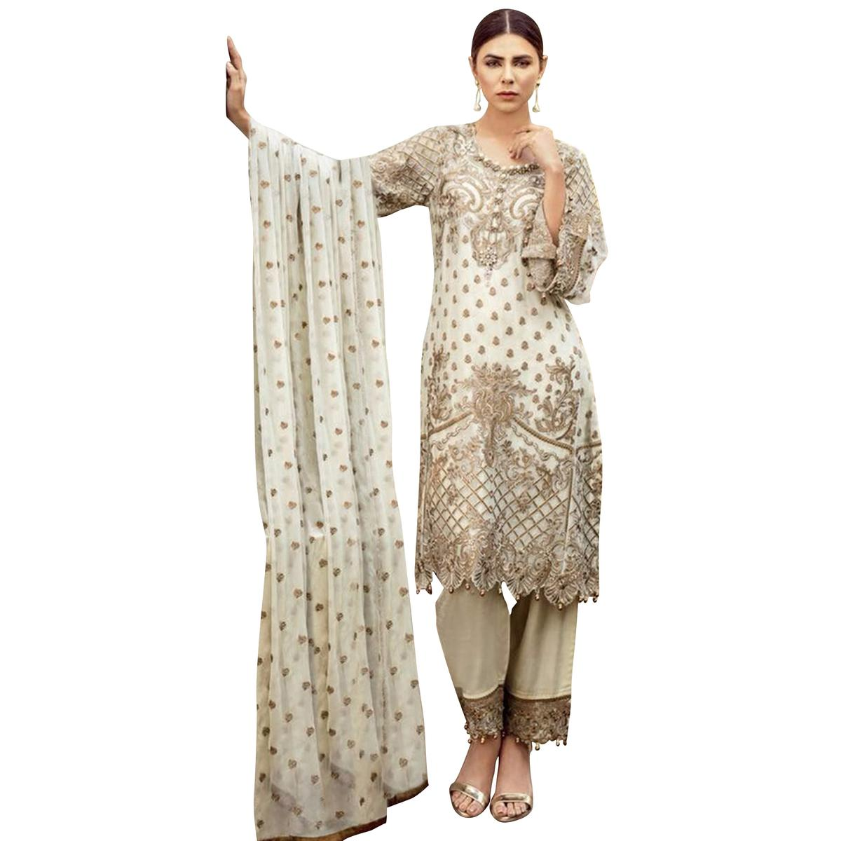 Lovely Off-White Colored Partywear Embroidered Georgette Suit