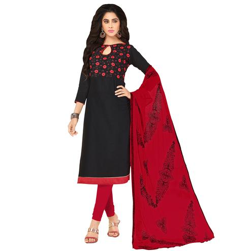 Eye-Catching Black Colored Embroidered Khadi Silk Dress Material