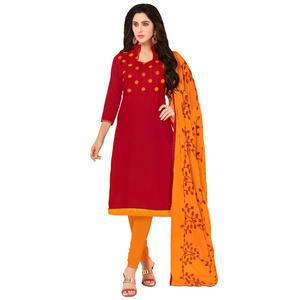 Glowing Red Colored Embroidered Khadi Silk Dress Material