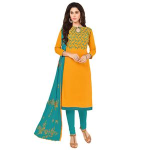 Pleasant Yellow Colored Embroidered Khadi Silk Dress Material