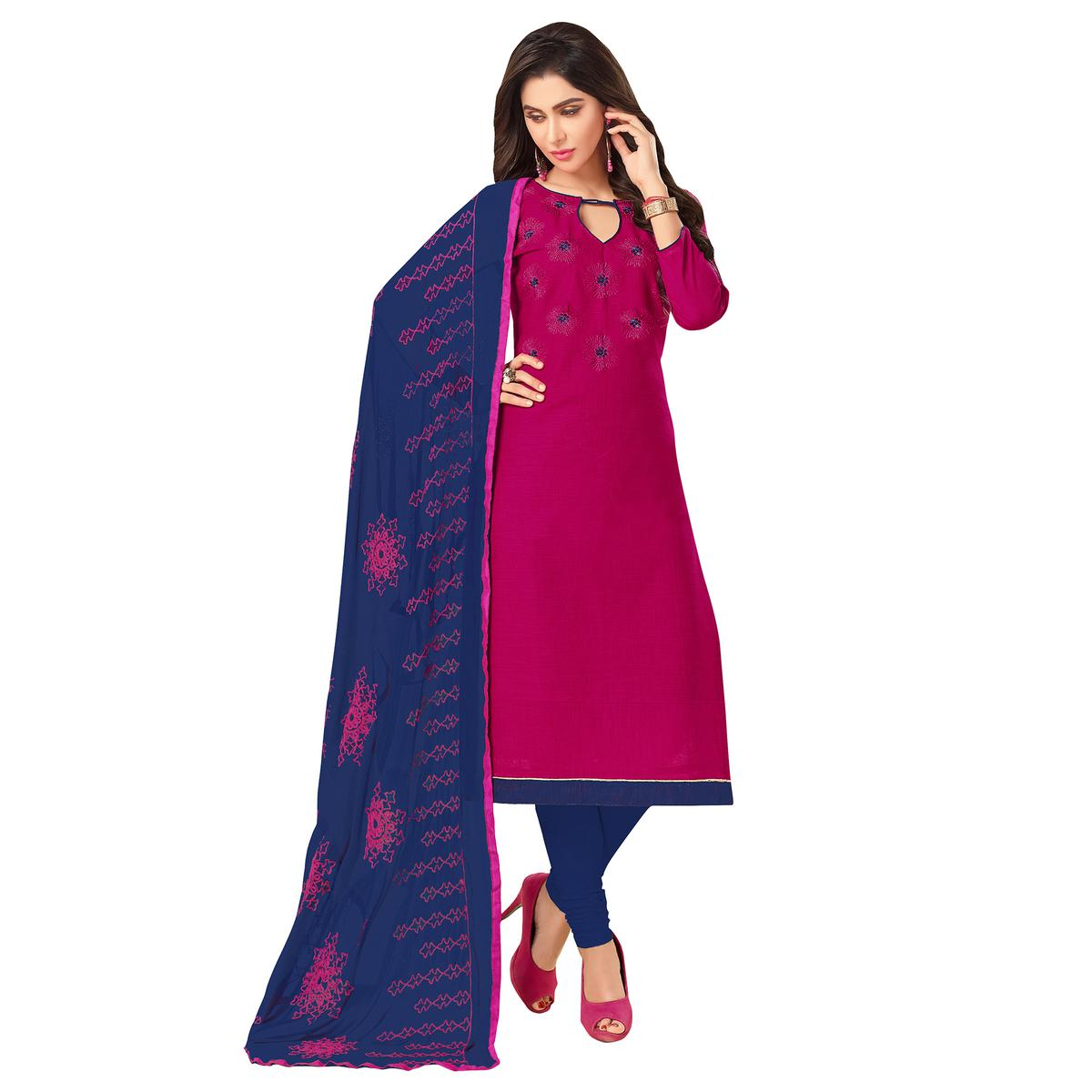 Charming Pink Colored Embroidered Khadi Silk Dress Material