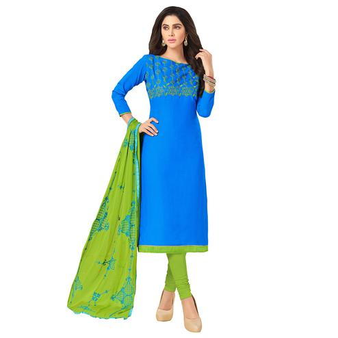 Blooming Sky Blue Colored Embroidered Khadi Silk Dress Material