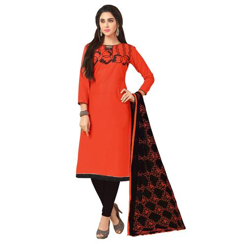 Trendy Orange Colored Embroidered Khadi Silk Dress Material