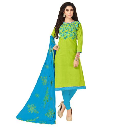 Refreshing Green Colored Embroidered Khadi Silk Dress Material