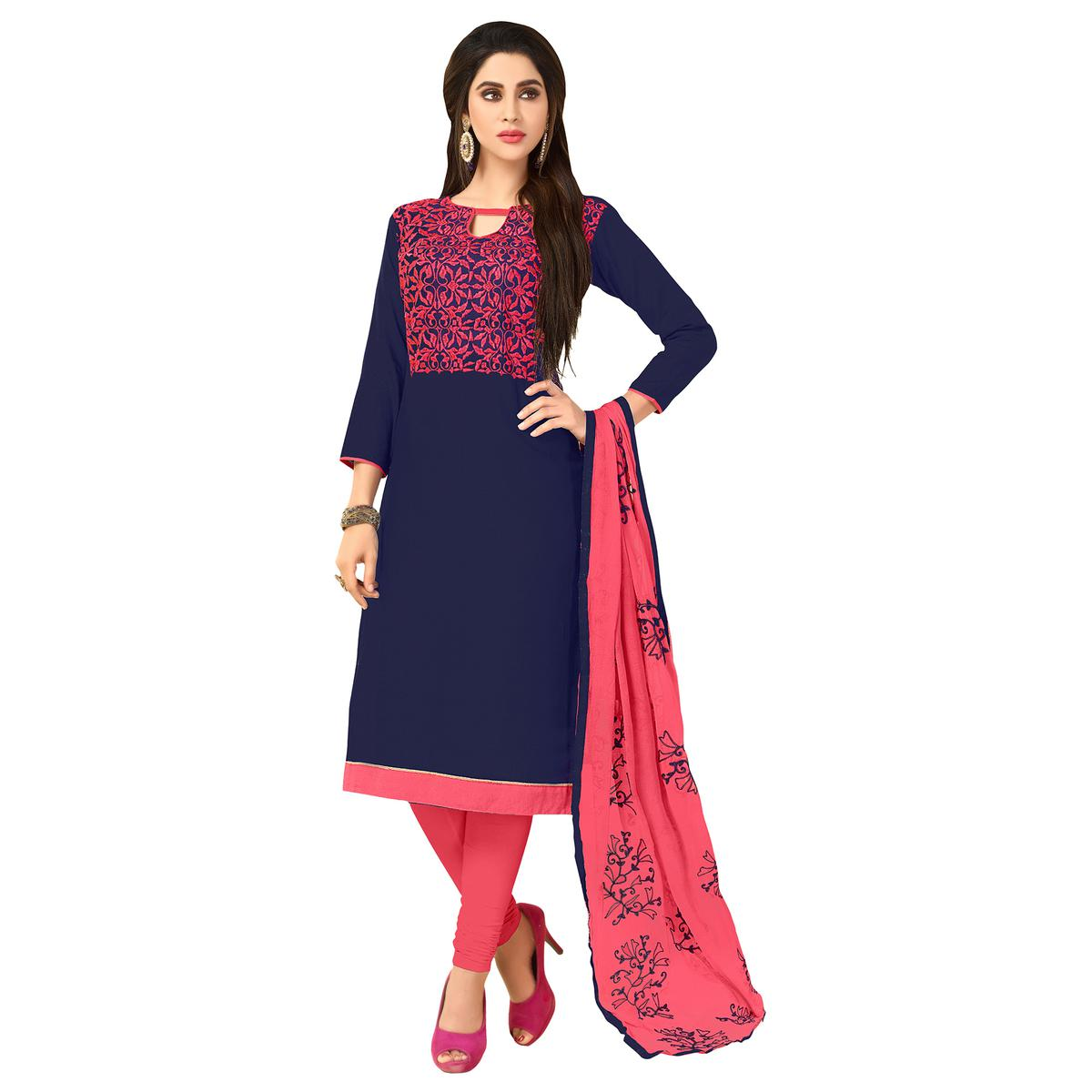 Groovy Navy Blue Colored Embroidered Khadi Silk Dress Material
