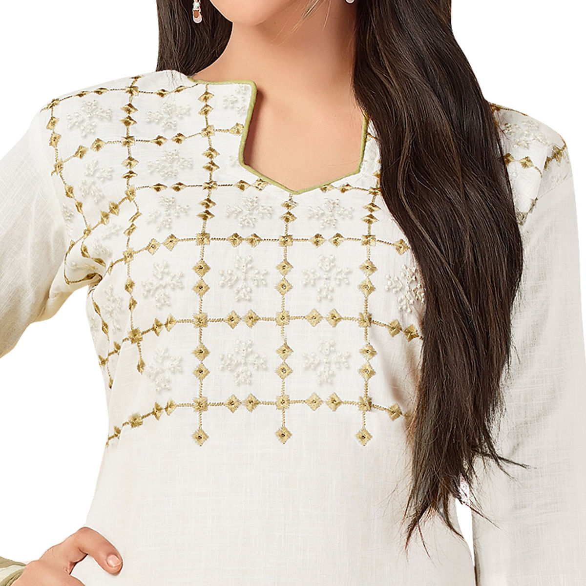 Desiring White Colored Embroidered Khadi Silk Dress Material