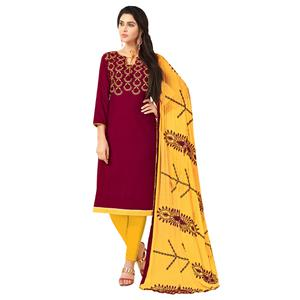 Gleaming Maroon Colored Embroidered Khadi Silk Dress Material