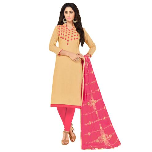 Unique Beige Colored Embroidered Khadi Silk Dress Material