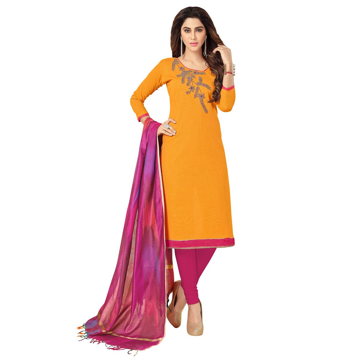 Glowing Yellow Colored Embroidered Khadi Silk Dress Material