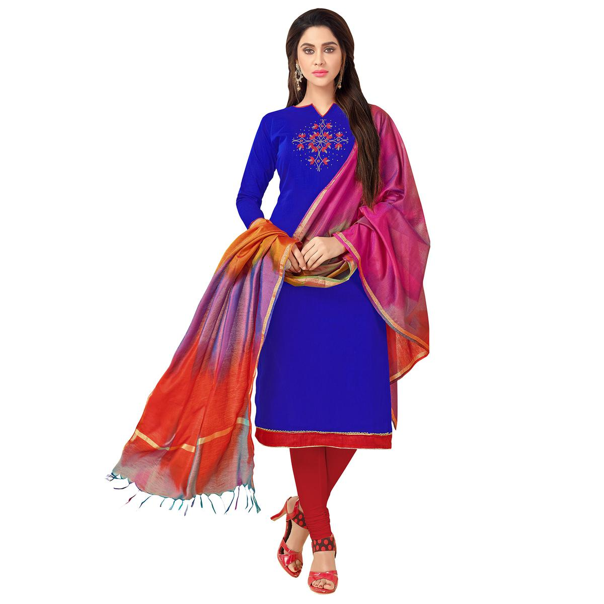 Gleaming Blue Colored Embroidered Khadi Silk Dress Material