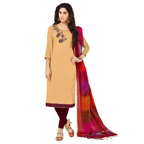Eye-Catching Beige Colored Embroidered Khadi Silk Dress Material