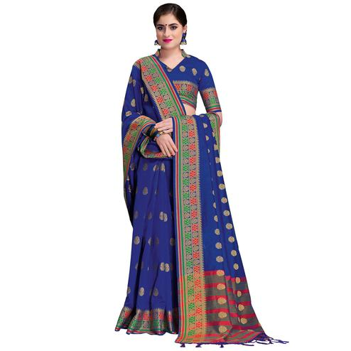 Lovely Blue Colored Festive Wear Woven Cotton Silk Saree