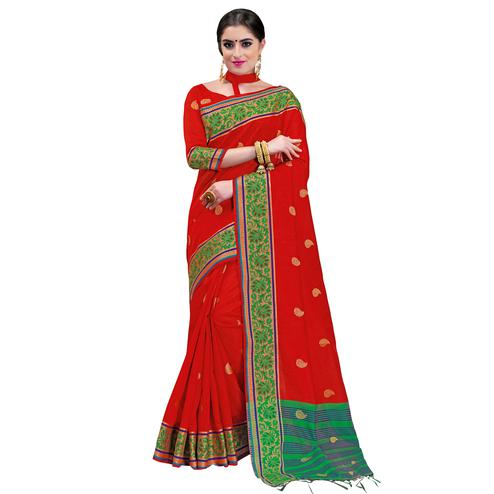 Glowing Red Colored Festive Wear Woven Cotton Silk Saree