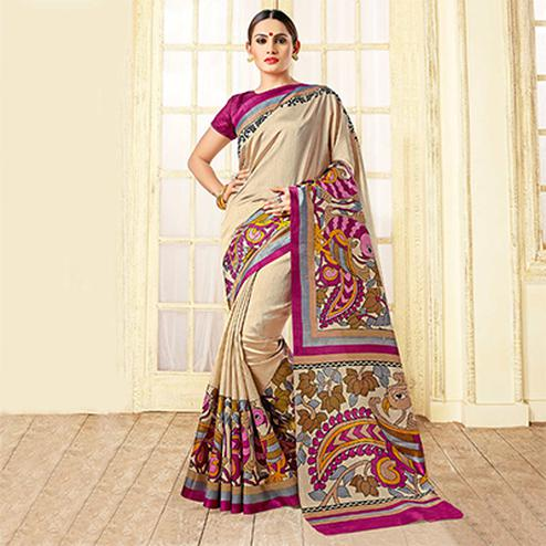 Cream Fancy Design Printed Bhagalpuri Silk Saree