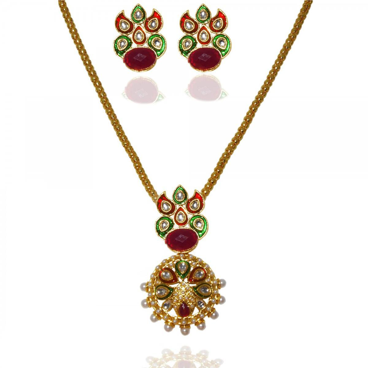 Pearl Gold Plated Pendant Set in Red & Green