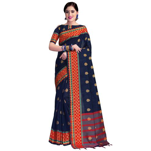 Groovy Navy Blue Colored Festive Wear Woven Cotton Silk Saree