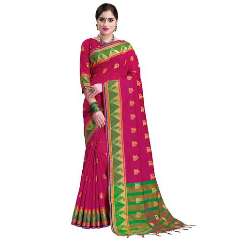 Attractive Pink Colored Festive Wear Woven Cotton Silk Saree