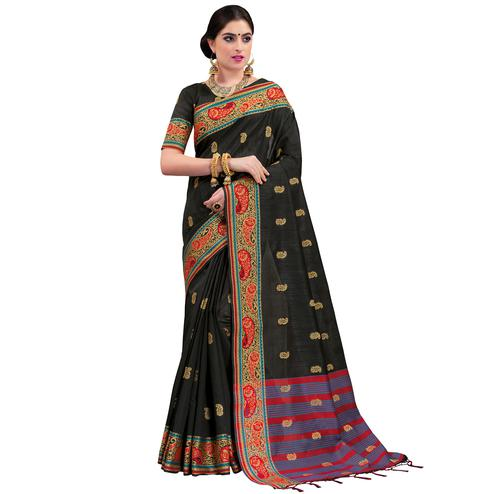 Flaunt Black Colored Festive Wear Woven Cotton Silk Saree