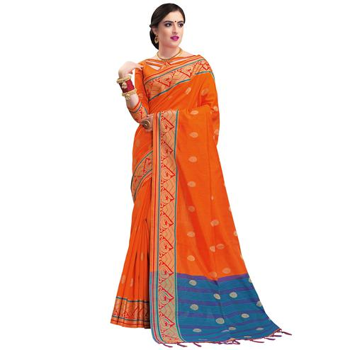 Trendy Orange Colored Festive Wear Woven Cotton Silk Saree