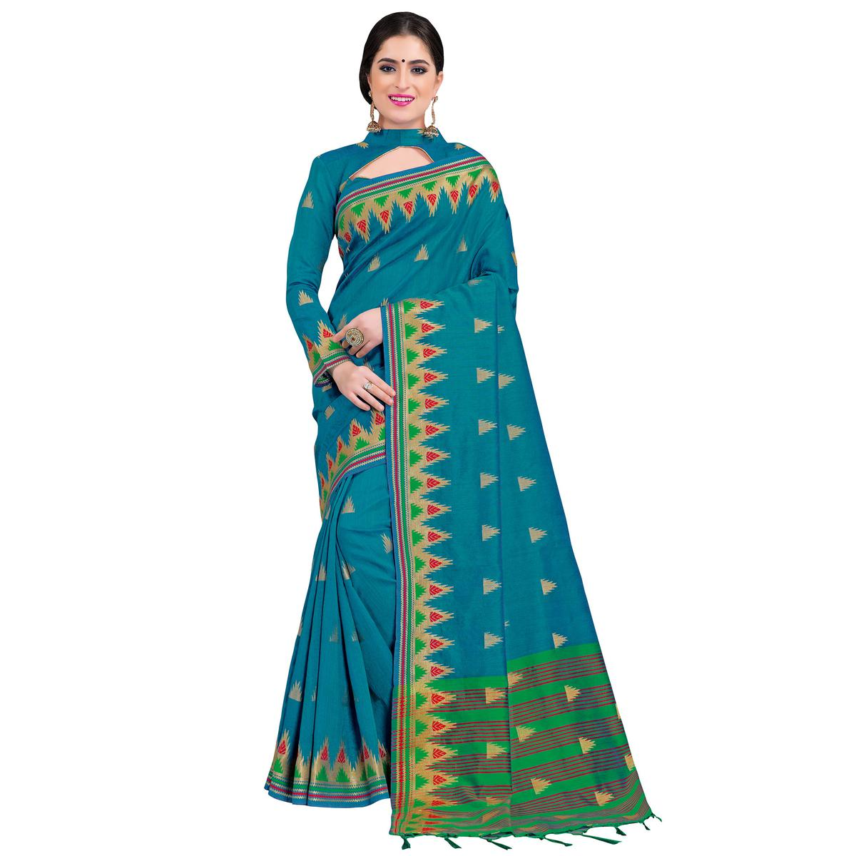Different Teal Blue Colored Festive Wear Woven Cotton Silk Saree